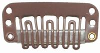 Hairclip 24 mm, 6-dents, Couleur: Brun clair