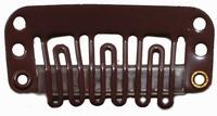 Hairclip 24 mm, 6-dents, Couleur: Brun foncé