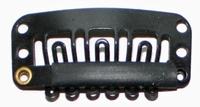 Haarclip 28 mm., U-shape 6-teeth, Kleur: Zwart
