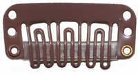 Hairclip 28 mm., 6-teeth, Colour: Brown
