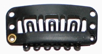 Haarclip 32 mm., U-shape 6-teeth, Kleur: Zwart