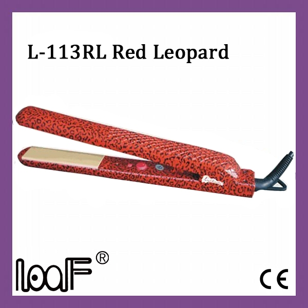 Ceramic Straightener, Color: Red Leopard