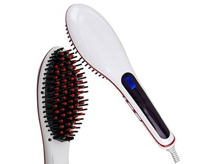 Hair straightener brush -parlemour/white with red line