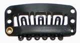 Hairclip 24 mm, 6-dents, Couleur: Noir