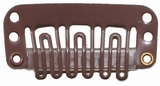 Hairclip 28 mm, 6-dents, Couleur: Brun